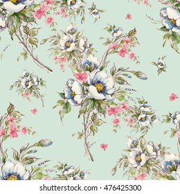 Watercolor seamless pattern bouquet of wildflowers-4 . Beautiful pattern for decoration and design. Trendy print. Exquisite pattern of  sketches  pencil and paints. Toned.