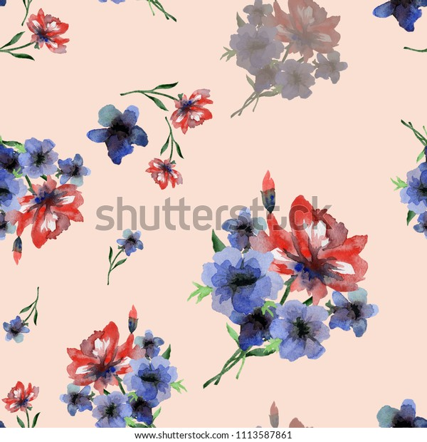 Watercolor seamless pattern, bouquets of blue and red anemones on a light pink background