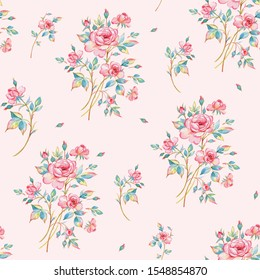 Watercolor seamless pattern of bouquets of roses drawn by paints on paper. Stylish print for textile design and decoration.