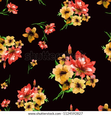 Watercolor seamless pattern, bouquets of yellow and red anemones on a black background