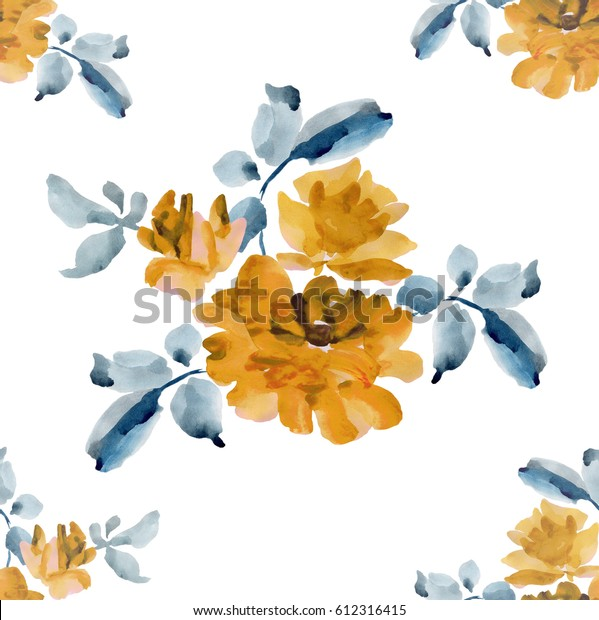 Watercolor seamless pattern with bouquets of yellow roses and gray leaves on white background