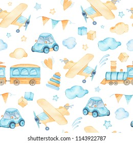Watercolor seamless pattern with boys toys train airplane car cubes clouds isolated on white background. Child kid toys illustration