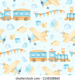 Watercolor seamless pattern with boys toys train airplane cubes clouds isolated on blue background. Child kid toys illustration