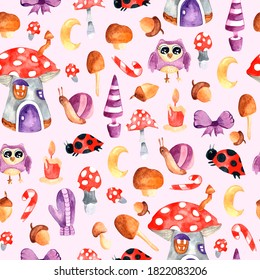 Watercolor seamless pattern with branches, leaves, gnome house, snail, owl. Watercolor design for dresses, clothing, Wallpaper, fabrics, children's room. Seamless pattern with herbs, leaves fly agaric