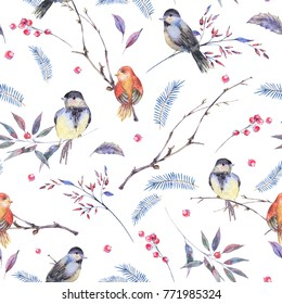 Watercolor seamless pattern with branches, leaves, birds on white background, Natural winter decoration, spring illustration