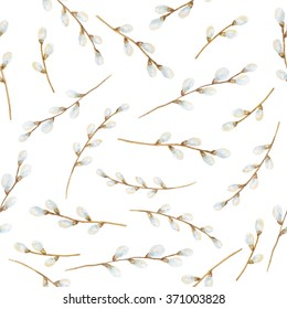 Watercolor seamless pattern branches of a willow on a white background.  Ideal for invitations, cards, greetings, wedding design.