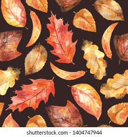 Watercolor seamless pattern with bright autumnal leaves, dark background