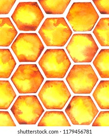 Watercolor Seamless pattern with bright orange honeycombs