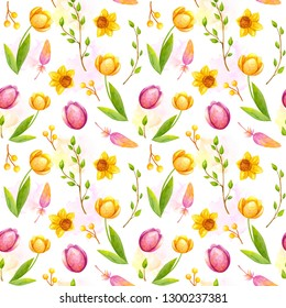 Watercolor seamless pattern with bright spring flowers - tulip, daffodil, feather, branches on white background, hand drawing illustration for Easter holidays. Pattern for wrapping paper, textile