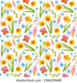 Watercolor seamless pattern with bright spring flowers - narcissus or daffodils, feathers and green branches on white background, hand drawing Easter illustration. Textile, wrapping