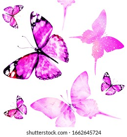 Watercolor seamless pattern with butterflies
