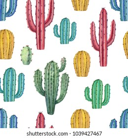 Watercolor seamless pattern of cacti and succulent plants isolated on white background. Flower illustration textile, paper and other print and web projects.