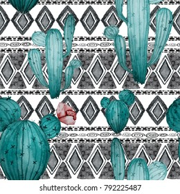 Watercolor seamless pattern with cactuses and flower.