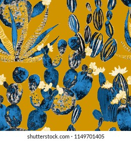 Watercolor seamless pattern with cactuses and flowers.