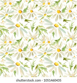 Watercolor seamless pattern with camomile daisy flowers
