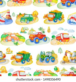 Watercolor seamless pattern with cartoon cars and trees. Hand drawn illustration. Isolated on white background. Travel conception.