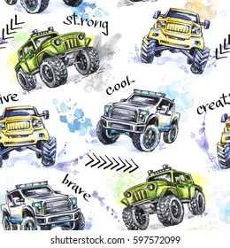 Watercolor seamless pattern Cartoon Monster Trucks. Colorful Extreme Sports background. 4x4. Vehicle SUV Off Road. Lifestyle. Man's hobby.