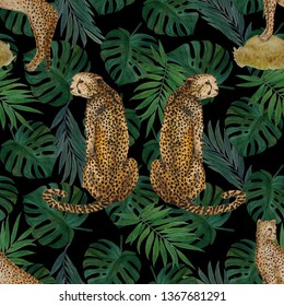 Watercolor seamless pattern with cheetahs on leaf background. Animalistic seamless print.