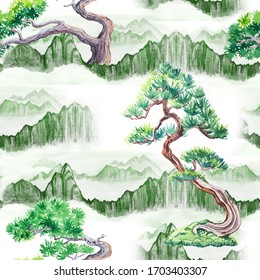 Watercolor seamless pattern in chinese japanese style with mountains and pines. Asian texture.
