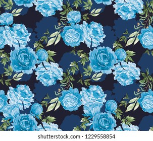 Watercolor seamless pattern in the chinoiserie style with peonies on dark blue background for wedding, scrapbooking, wallpaper and other design