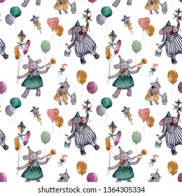 Watercolor seamless pattern with circus  elefants, colorful balloons and magic wands on a white background