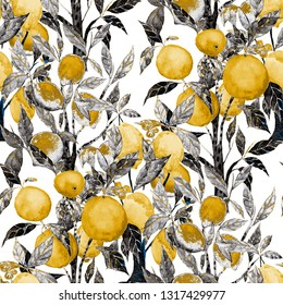Watercolor seamless pattern with citrus trees. Bright wallpaper with orange, lime and lemon trees. Beautiful summer print. Surface design