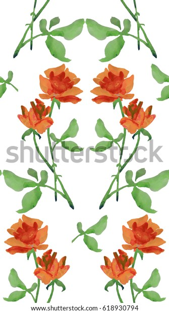 Watercolor seamless pattern with classic ornament of red roses and green leaves  on white background