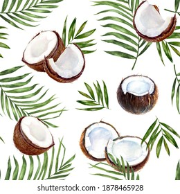 Watercolor seamless pattern coconut isolated on white.