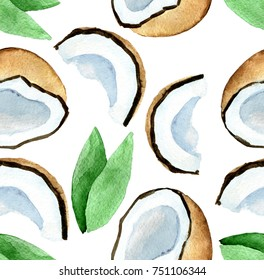 watercolor seamless pattern with coconut isolated on white background