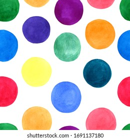 watercolor seamless pattern with colorful circles
