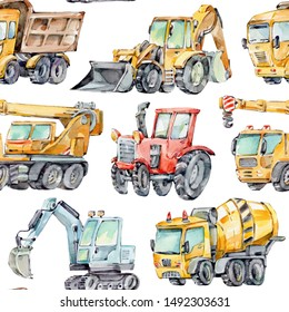 Watercolor seamless pattern with colorful little toy cars. Trucks and Cars Watercolor Background for Kids. Red tractor, Excavator, Digger machine, Building machines, Concrete Mixer