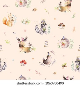 Watercolor seamless pattern of cute baby cartoon hedgehog, squirrel and moose animal for nursary, woodland forest illustration for children. Forest decoration