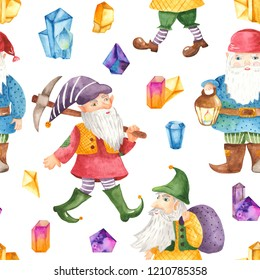 Watercolor seamless pattern with cute dwarves and crystals. Texture for wallpaper, kindergarten, waldorf, holiday lanterns, cards, children's design.