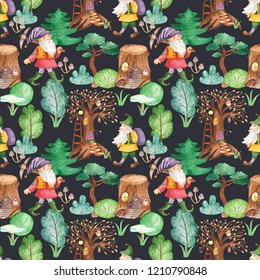 Watercolor seamless pattern with cute dwarves in the fairy forest. Texture for wallpaper, kindergarten, waldorf, holiday lanterns, cards, children's design.
