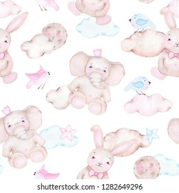 Watercolor seamless pattern with cute elephant bunny moon birds and clouds isolated on white background. Birthday children decoration kid illustration with forest jungle animal