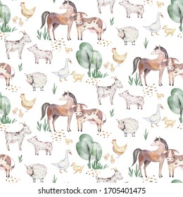 watercolor seamless pattern with cute farm animals with goat, horse, goose and cow. chicken and pig domestic animal illustration.