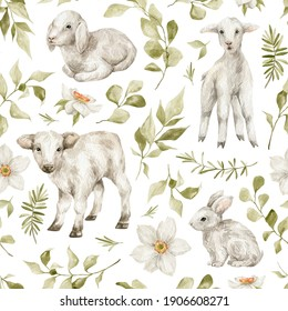 Watercolor seamless pattern with cute farm animals, leaves, flowers. Baby cow, white sheep, rabbit, eucalyptus. Domestic animals and nature.