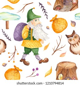 Watercolor seamless pattern with cute gnome with bag, branches, owl, pointer, stump. Texture for wallpaper, kindergarten, waldorf, holiday lanterns, cards, children's design.