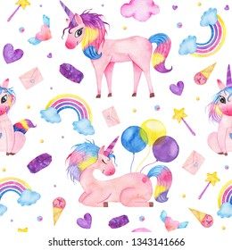Watercolor seamless pattern with cute magic unicorn, ice-cream, magic wand cloud balloon isolated on white background. Happy birthday children decoration printable nursery for kid textile illustration
