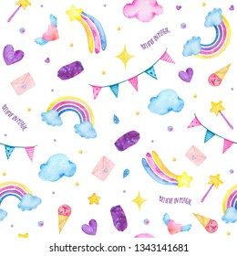Watercolor seamless pattern with cute rainbow, magic wand, clouds, crystal isolated on white background. Happy birthday children decoration printable nursery for kid textile illustration