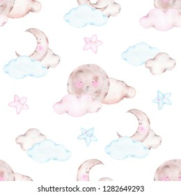 Watercolor seamless pattern with cute sleeping moon crescent and clouds isolated on white background. Birthday children decoration kid illustration