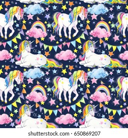 watercolor seamless pattern with cute unicorn and Fairy tale. perfect for prints, greetings, invitations, wrapping paper, textile. Birthday background