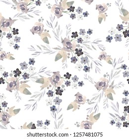 Watercolor seamless pattern with delicate flowers. Illustration