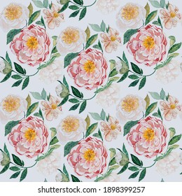 Watercolor seamless pattern. Delicate pink and white peonies with green leaves. Surface design for fabric, wallpaper, wrapping paper, invitation card. Ivory, beige color square background.