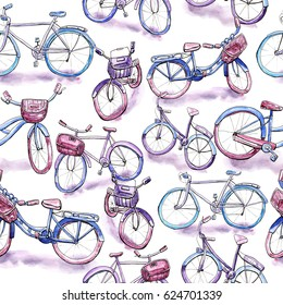 Watercolor seamless pattern with different bicycle models.