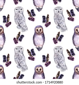 Watercolor seamless pattern with different types of owls