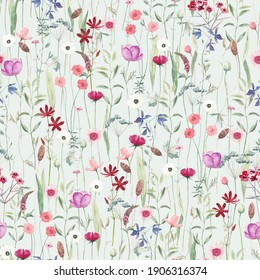 Watercolor seamless pattern with different wild flowers. Cute background for fabric, textile, nursery wallpaper. Meadow with flowers.