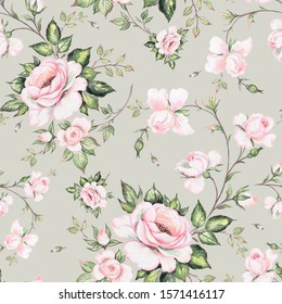 Watercolor seamless pattern drawn lovely roses. Stylish print for textile design and decoration.