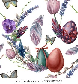 Watercolor seamless pattern with eggs and feathers. Hand painted vibrant illustration isolated on white background. Illustration with batterfly, flowers, tree branch and leaves for design or fabric