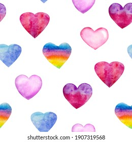 Watercolor seamless pattern with elements for Valentine's Day on a white background. Multicolored, rainbow hearts.